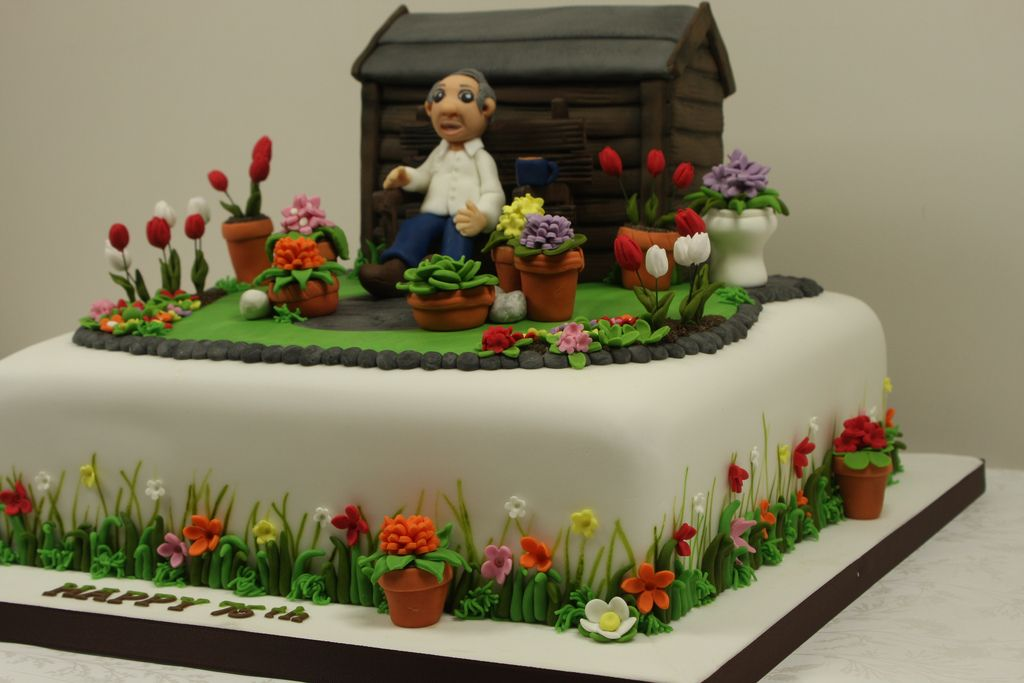 Simple Garden Design Birthday Cake Fondant Icing By Shobana