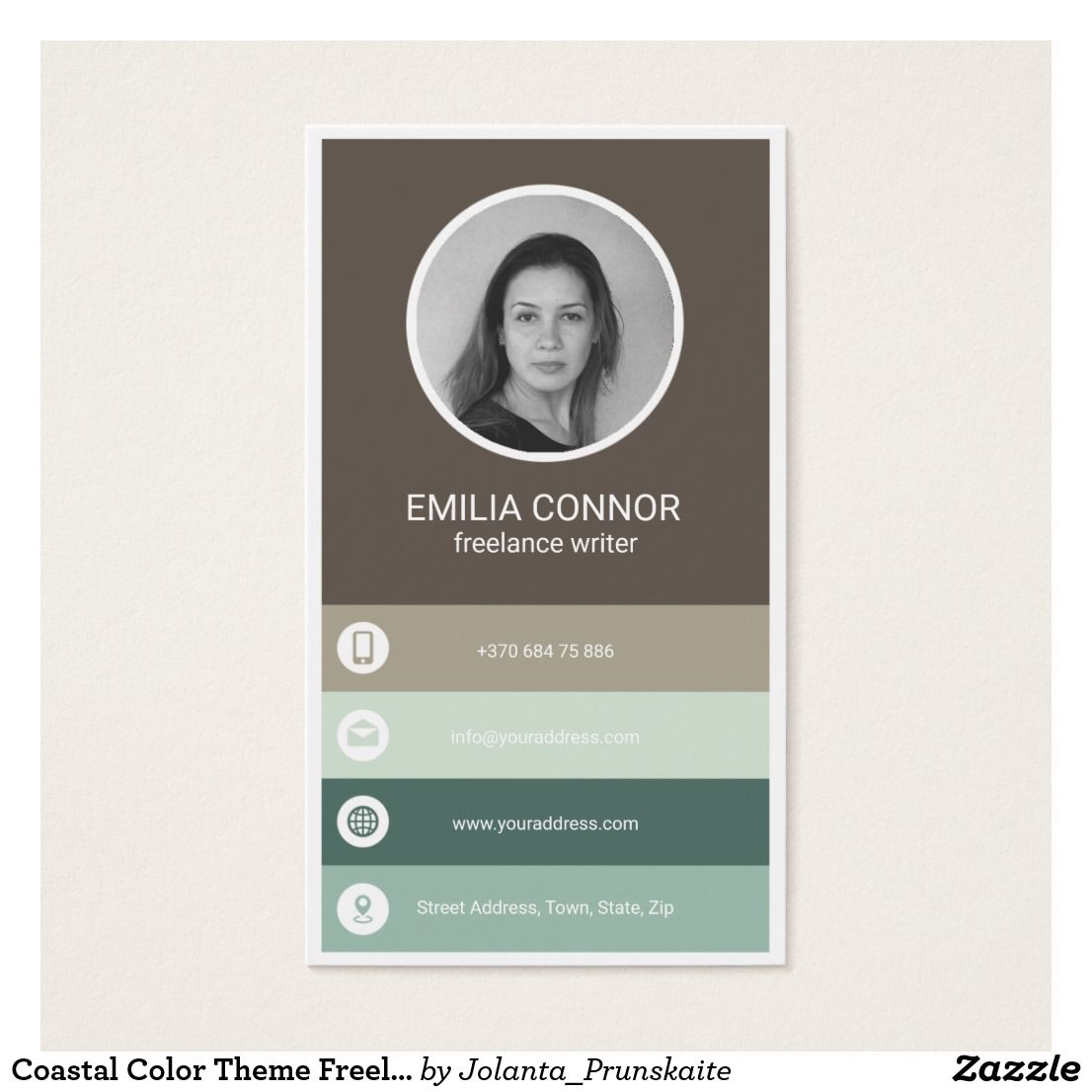 Coastal Color Theme Freelance Writer Business Card | Business ...