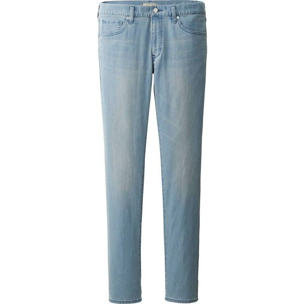 UNIQLO Men Skinny Fit Tapered Air Jeans ($50) via Polyvore featuring mens, men's clothing, men's jeans and blue