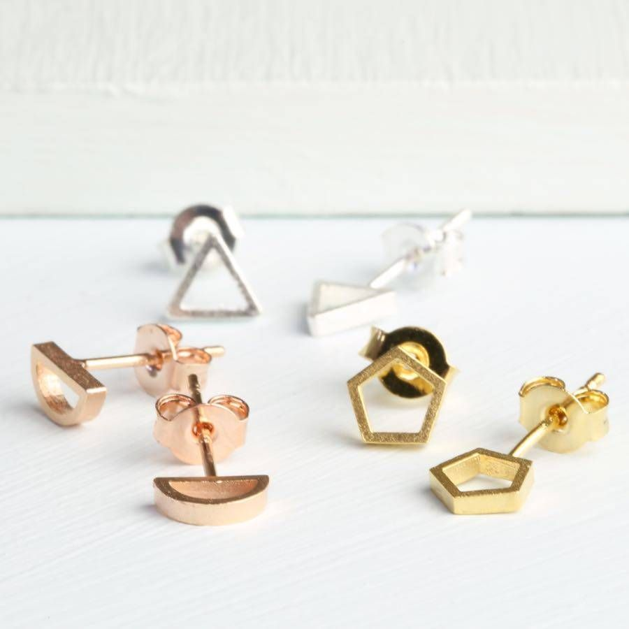 normal plated gallery product earrings jewelry metallic nylon in lyst mismatched stud gold