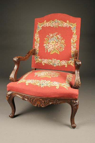 Louis XV French Bergere chair with great hand carved frames and excellent needlepoint. Circa 1870-80. #antique #chairs
