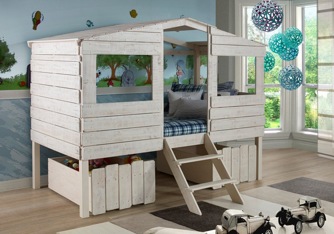 Cabin Lofted Bed with Storage Tree house bed, Low loft