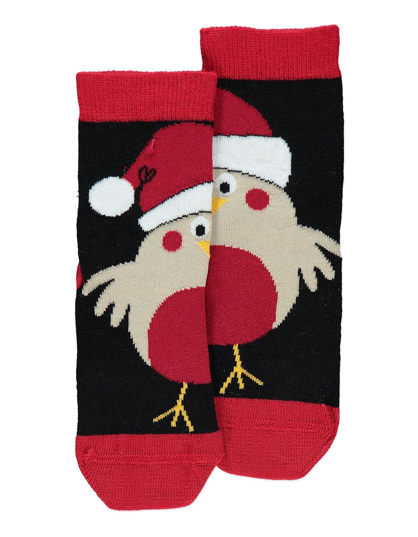 1 Pack Christmas Robin Socks boys kids infant toddler baby