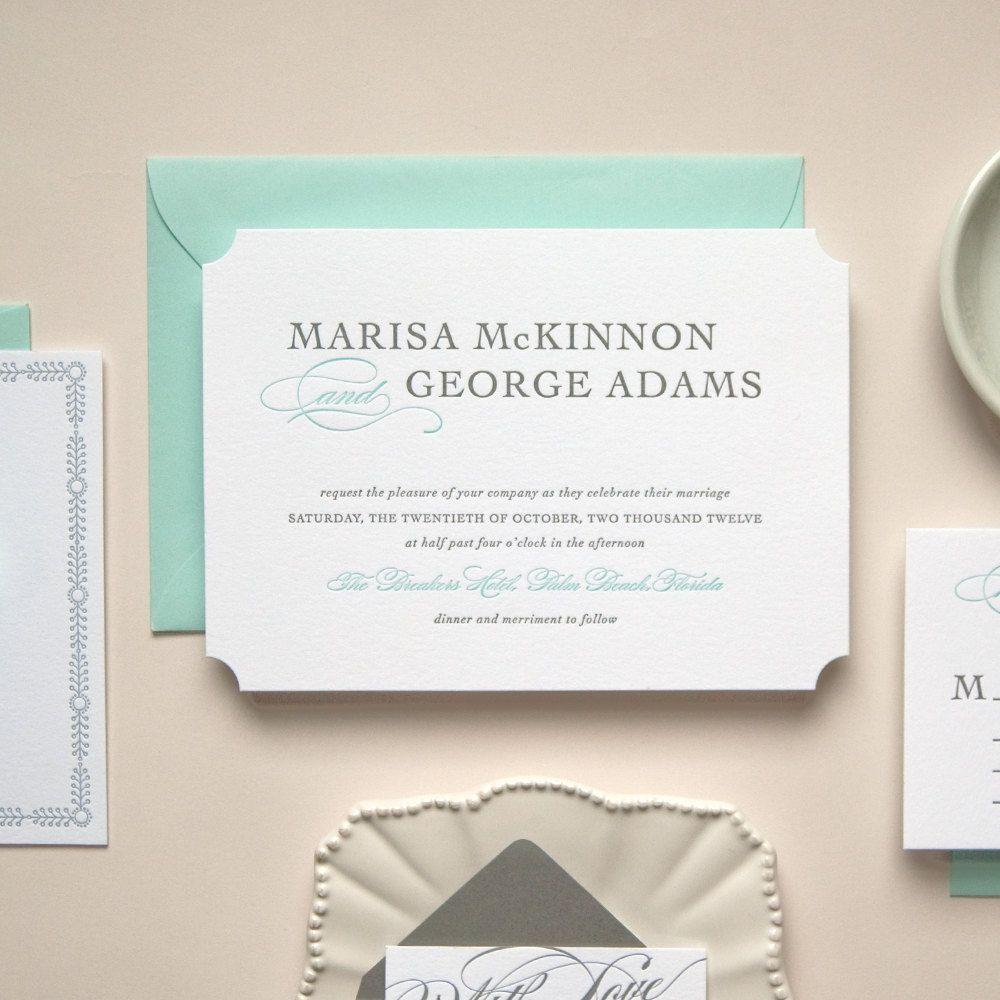 Light Green Blue Die Cut Letterpress Wedding Invitation Sample