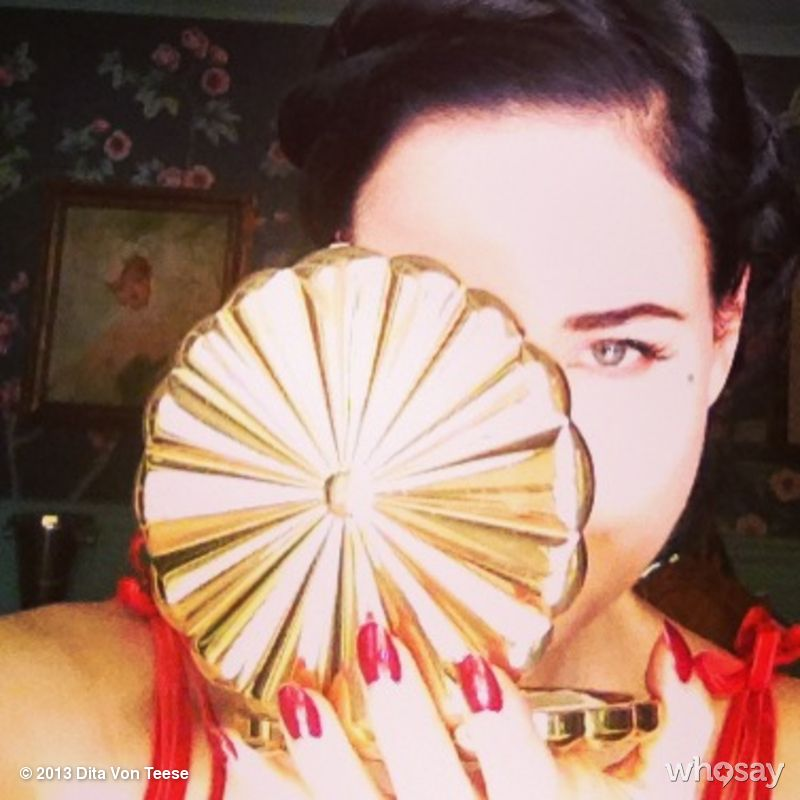"""Dita Von Teese's photo """"The dramatic glamour of an oversized vintage powder compact."""""""