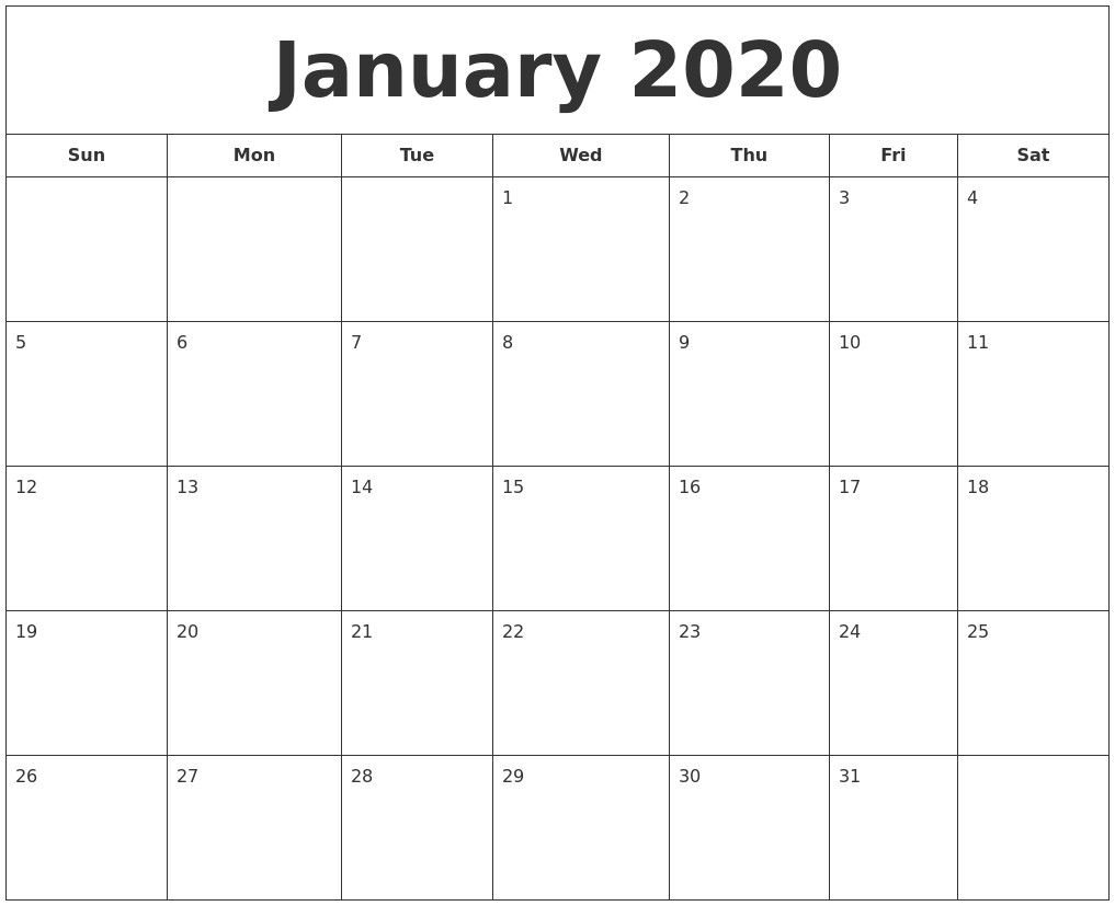 Lovely January 2020 Calendar Printable Pdf Dengan Gambar