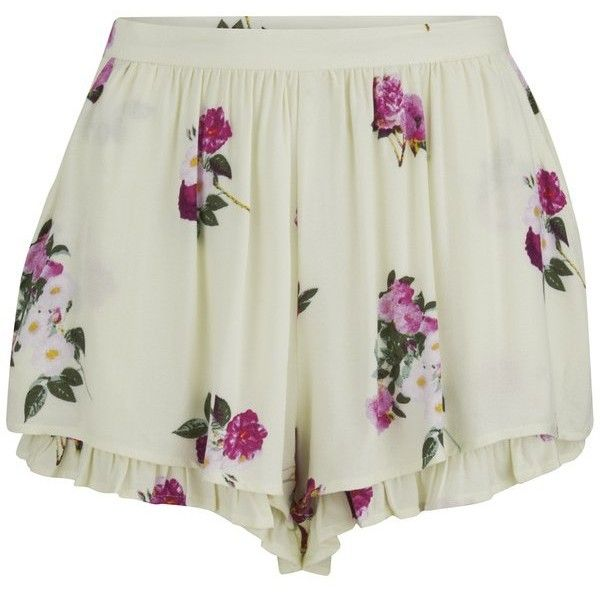 MINKPINK Women's Pink Petals Shorts - Multi (10.795 HUF) ❤ liked on Polyvore featuring shorts, bottoms, pants, short, multi, highwaisted shorts, loose short shorts, lightweight shorts, minkpink shorts and high waisted short shorts