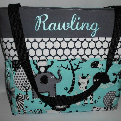 Teal Jungle W Dots Personalized Diaper Bag With Baby