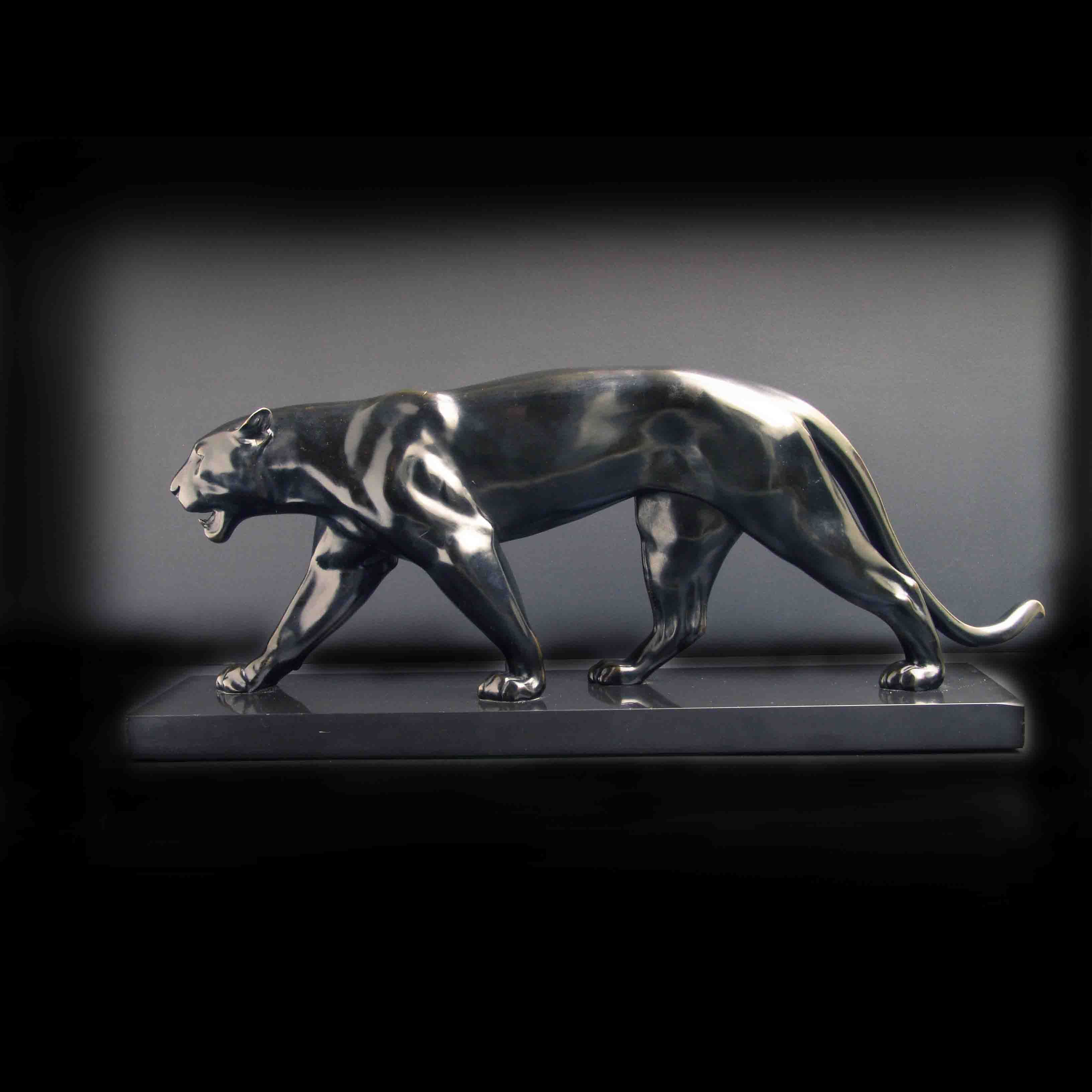 Baghera Art Deco Panther In Black Patinated Cast Metal