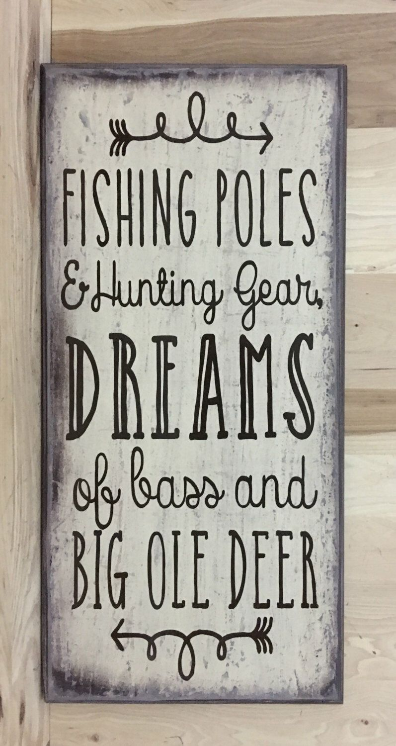 Fishing decor, fishing wood sign, Hunting decor, Father\'s Day gift ...