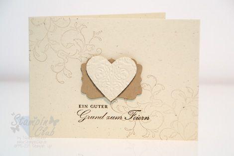 Stampin Up Einladung Invitation Hochzeit Wedding Kreative Elemente  Geburtstagswunsch Brokat Prägefolder Silberhochzeit _