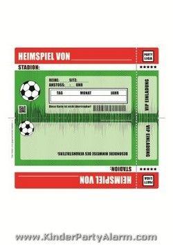 fußball ticket einladung | fussballgeburtstag | pinterest, Einladung