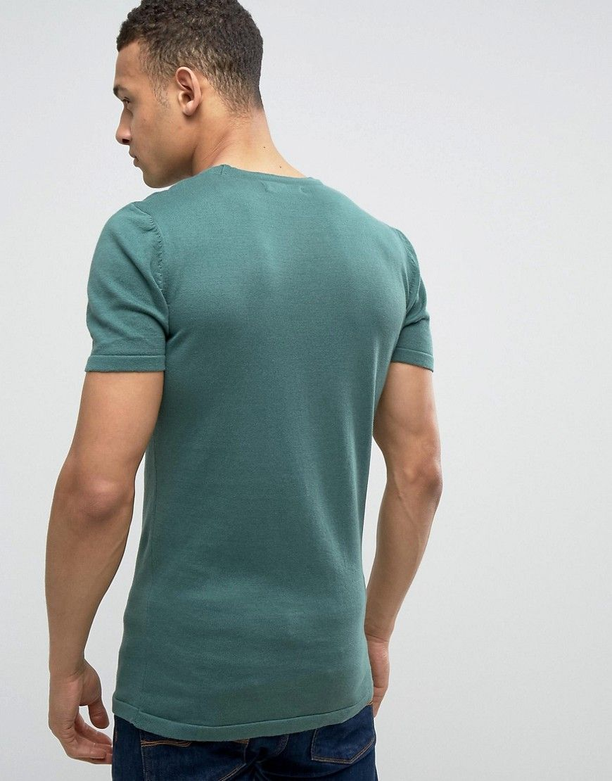ASOS Knitted Muscle Fit T-Shirt In Dark Green - Green