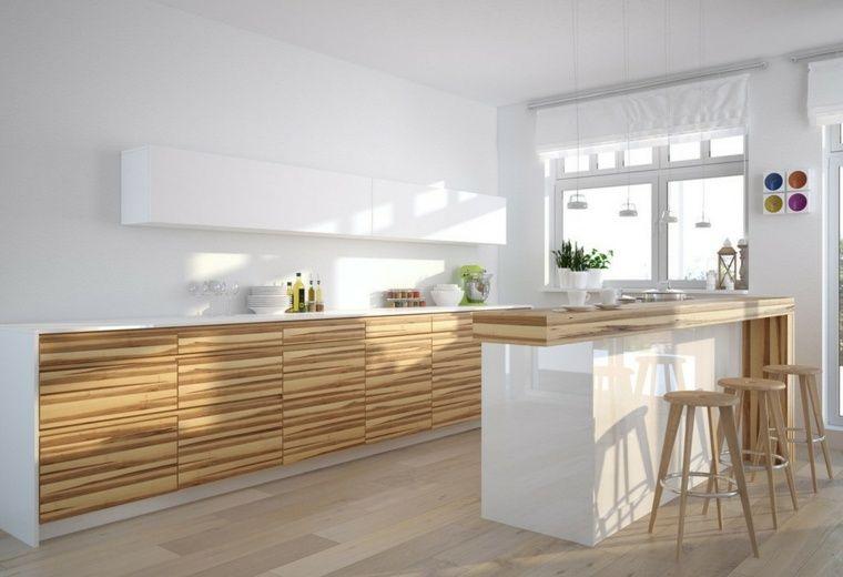 La cuisine blanche et bois dans tous ses états