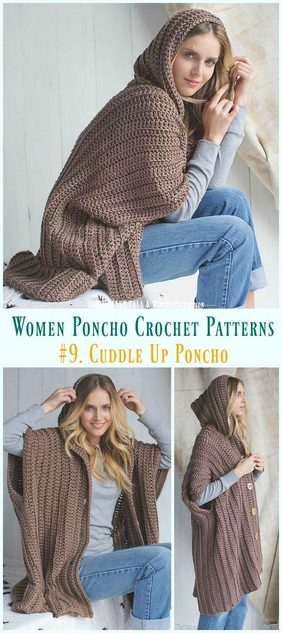 Herbst & Winter Frauen Poncho Kostenlose Häkelanleitungen & Bezahlt, #amp #bezahlt #c... #ponchoscrochet