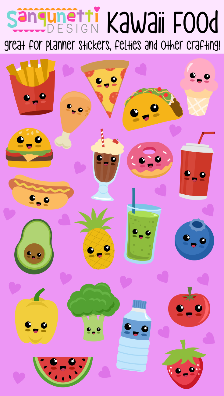 Cute Kawaii Health And Junk Food Illustrations Clipart Great For Planner Stickers Felties Play Foo In 2020 Cute Food Drawings Food Illustration Art Kawaii Drawings