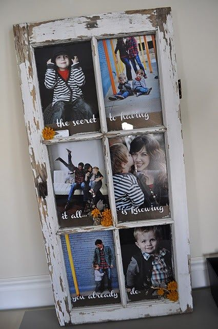 Old Window Turned Picture Frame Window Crafts Diy Picture Frames Picture Frames