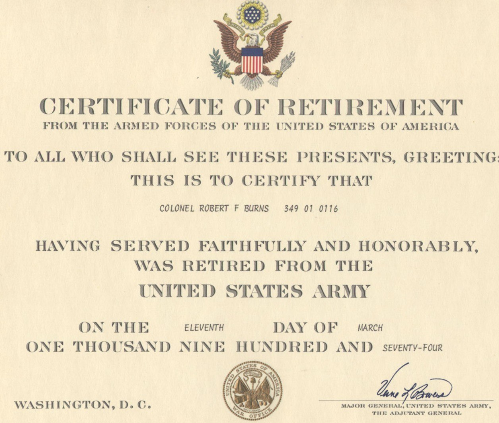 Navy Retirement Certificate Template