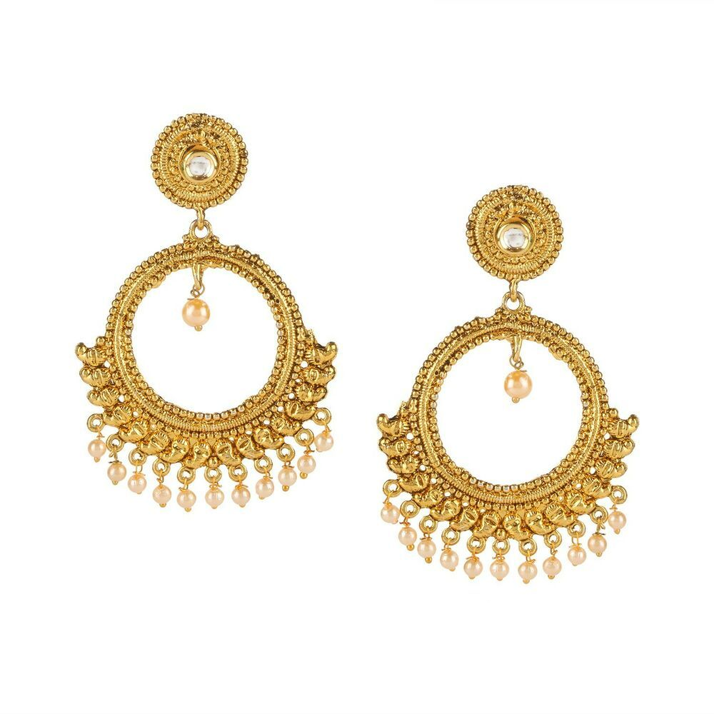 Punctual Indian Traditional Goldtone Dangle Jhumka Earring Set Women Ethnic Jewellery At Any Cost Jewelry & Watches