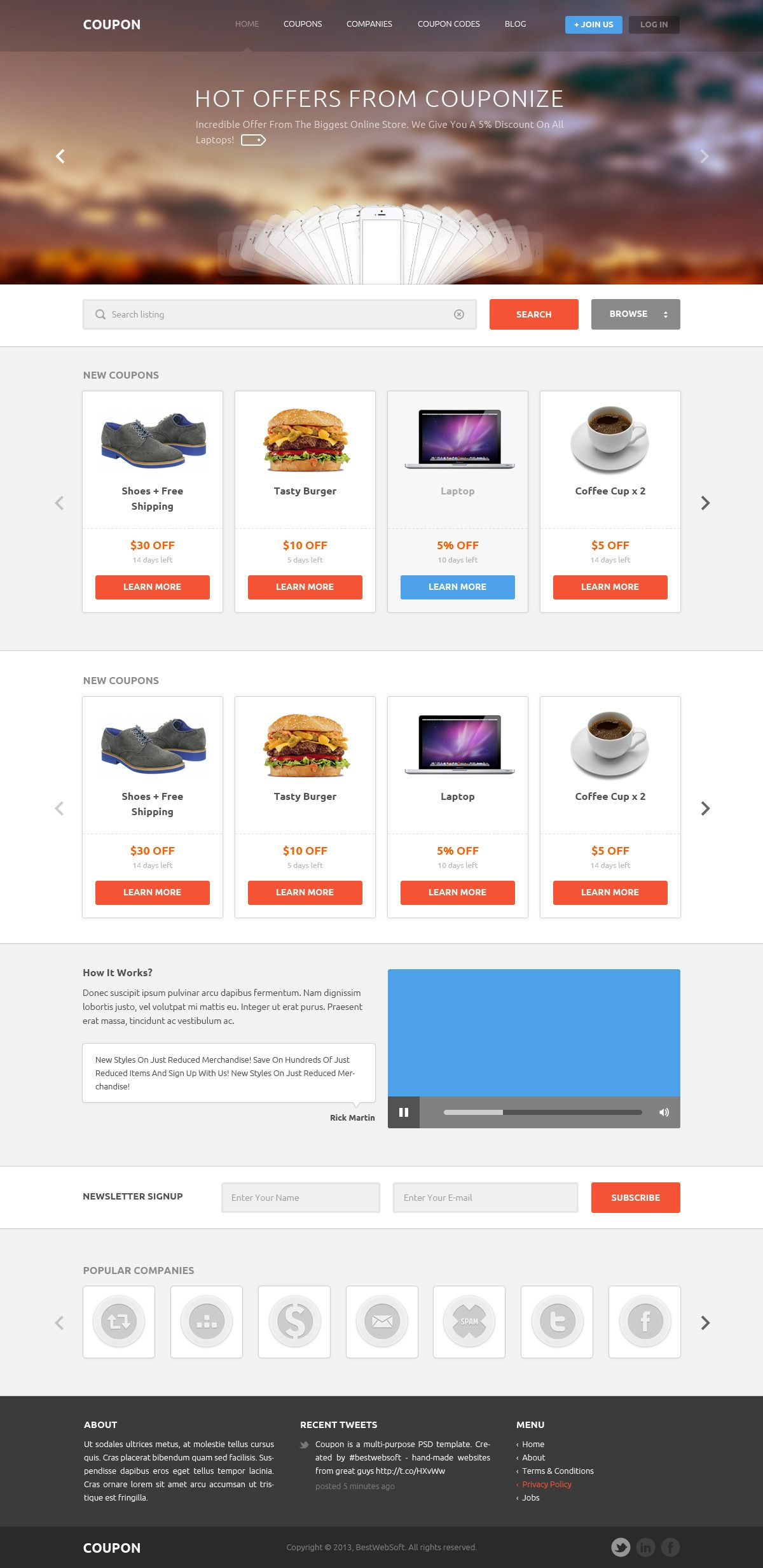 Coupon - Coupons and Promo Codes PSD Template | Photoshop website ...