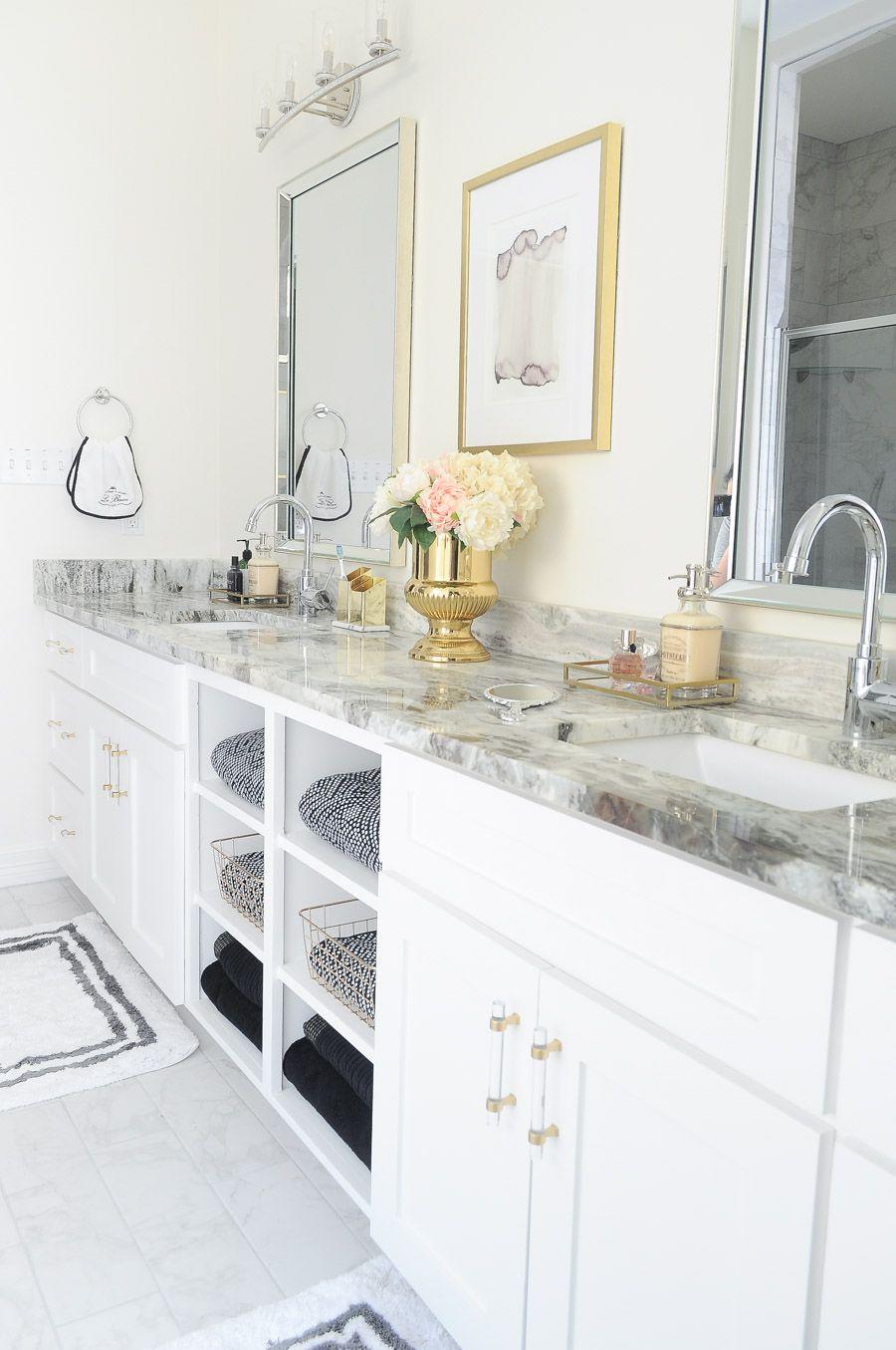 Glam Gold White Master Bathroom Refresh White Master Bathroom Master Bathroom Design Master Bathroom Refresh