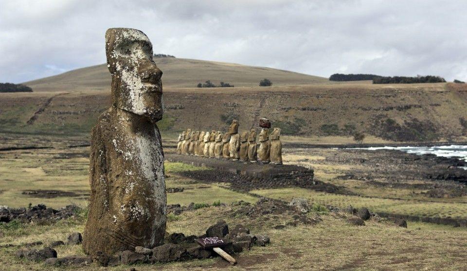 Moai at Tongariki, Easter Island, Territory of Chile