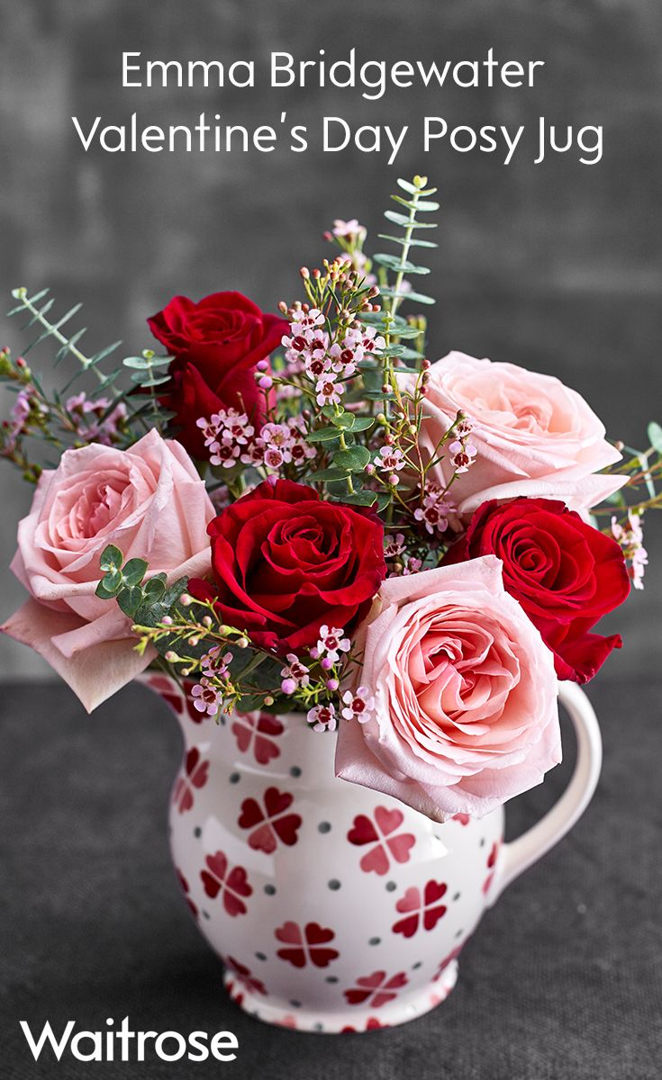 12 beautiful red and pink roses displayed in an exclusive hand in an exclusive hand decorated emma bridgewater jug this gift is sure to impress a loved one this valentines day shop online at waitrose florist izmirmasajfo
