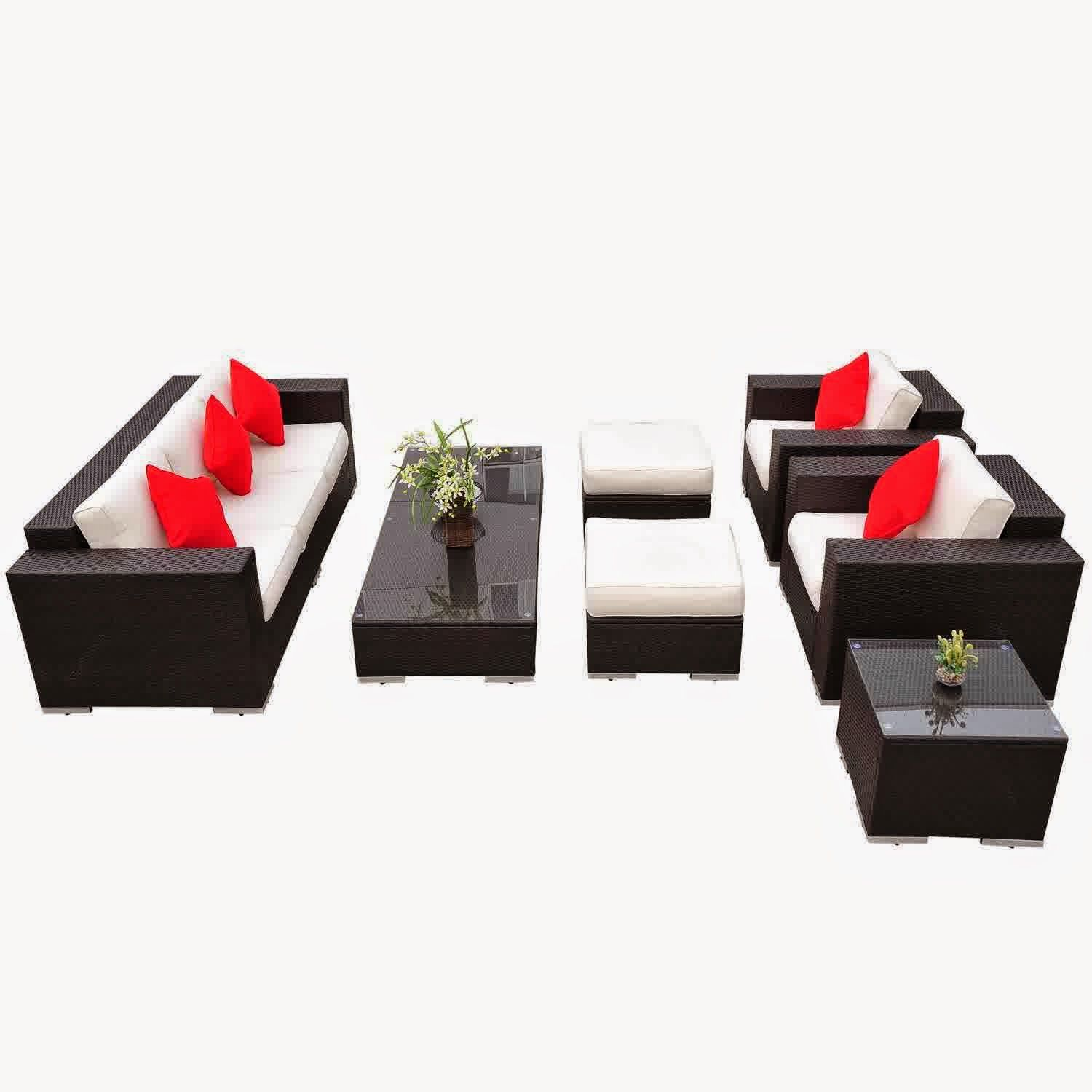 Outsunny pc pe rattan wicker sectional patio sofa furniture set