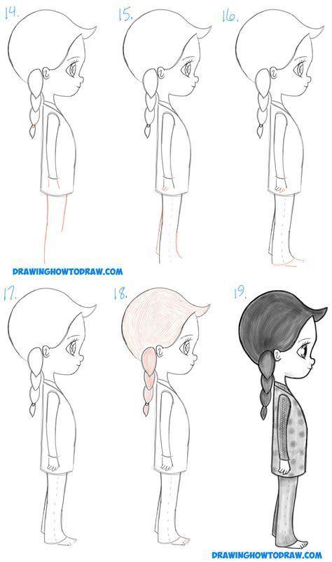Learn how to draw a cute chibi manga anime girl from the side profile view simple steps drawing lesson for beginners