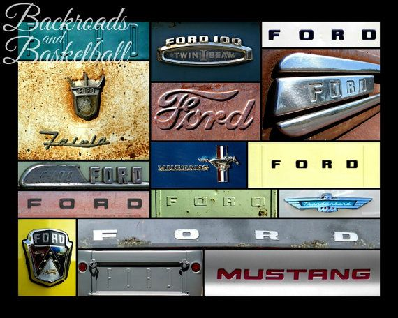 Ford Logos Collage Fine Art Home Decor Wall By Backroadsandbball, $20.00