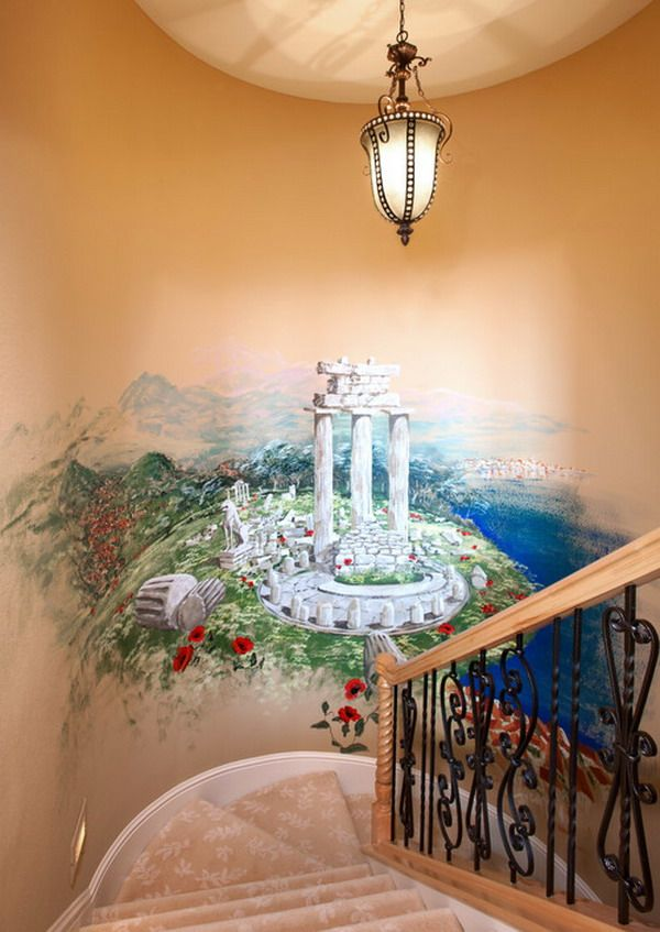 Awesome Traditional Staircase Wall Murals Painting Ideas Paint | Stairs Wall Paint Design | Luxury Staircase Wall | Wallpaper | Wall Colour | Beautiful | Wall Painting