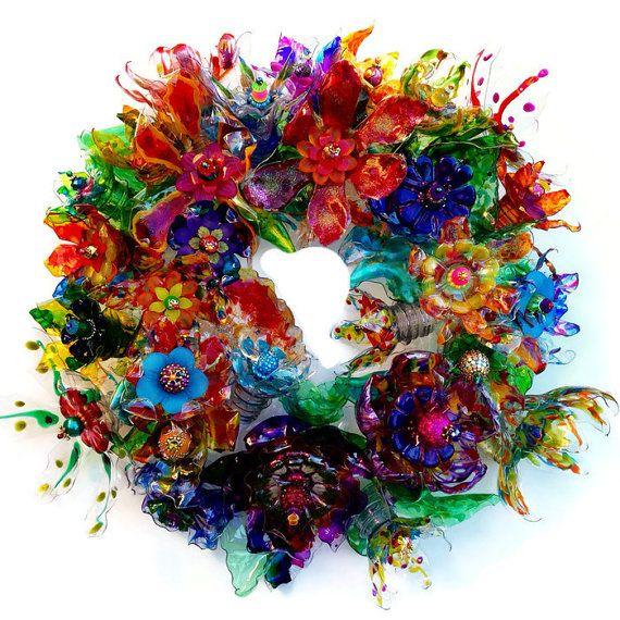 Plastic bottle flower door wreath, Recycled Art, Plastic Bottle Art Centerpiece, Art Statement, Abstract Colorful Wall Art