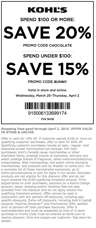 Kohls coupons in store oct 2018