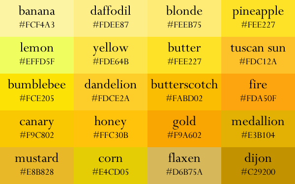 Color Names Now In Gradient Order Color Palette Yellow Color Names Shades Of Yellow Color
