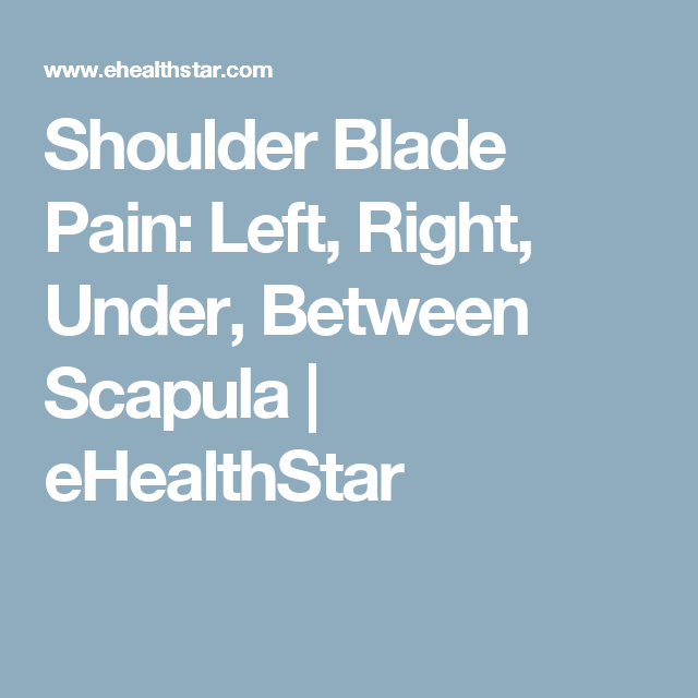 Shoulder Blade Pain: Left, Right, Under, Between Scapula | eHealthStar