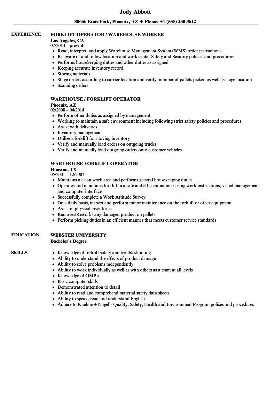 Warehouse Forklift Operator Resume Samples Velvet Jobs Regarding Forklift Certification Template Best Bu Warehouse Resume Warehouse Worker Resume Objective