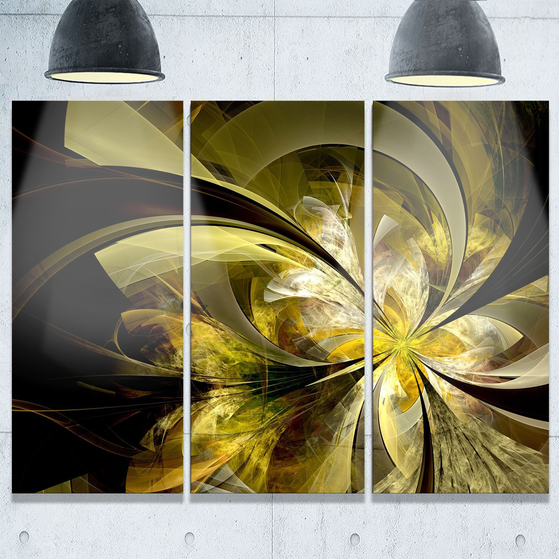 Bright Golden Fractal Flower Design - Modern Floral Glossy Metal ...