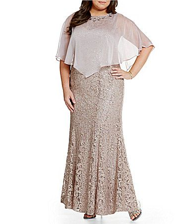 b05f7d1caa Ignite Evenings Plus Sequin Lace Capelet Gown  Dillards