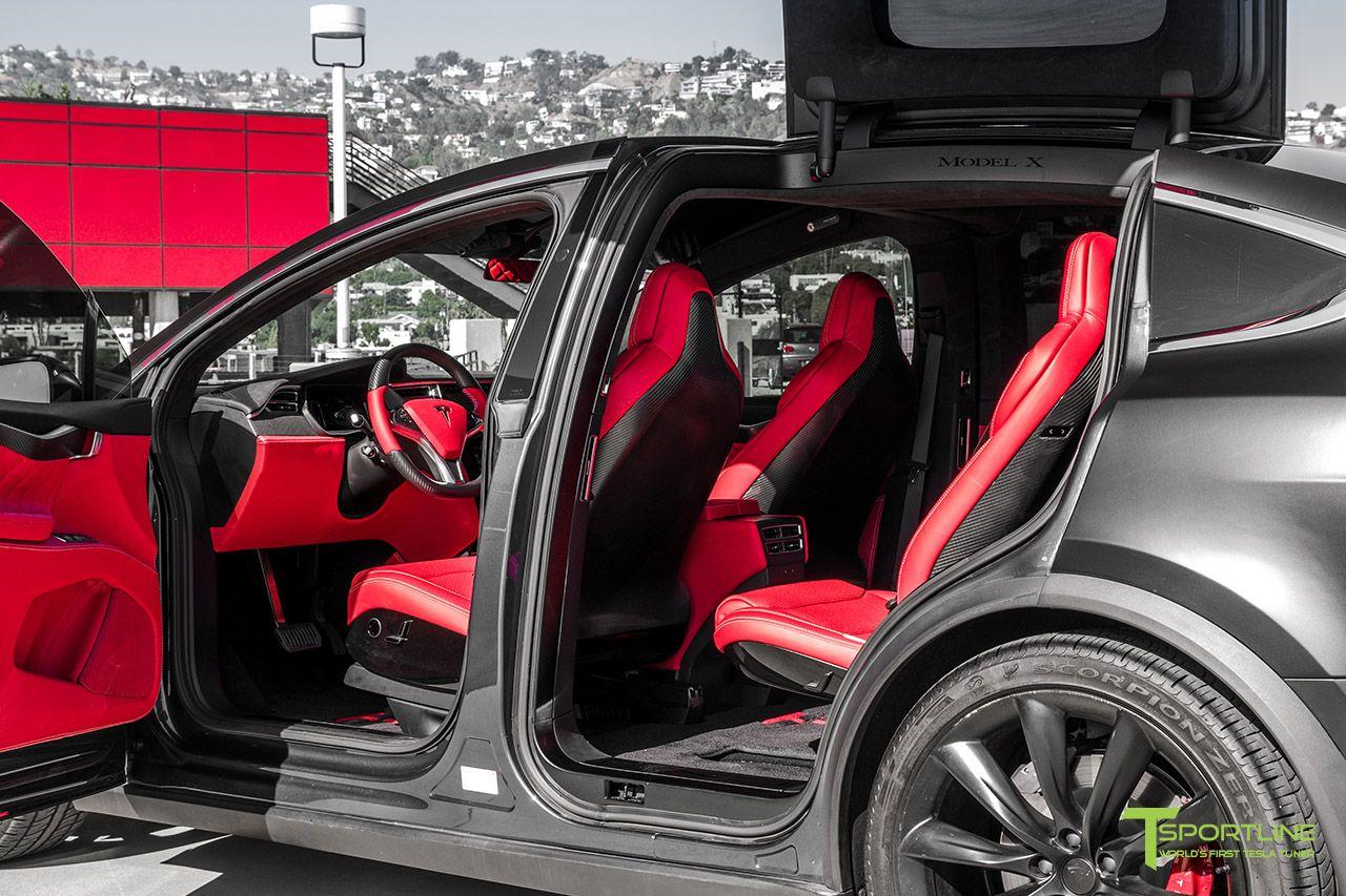 Satin Black Model X Bentley Red Interior Tesla Model X Tesla Model Custom Leather