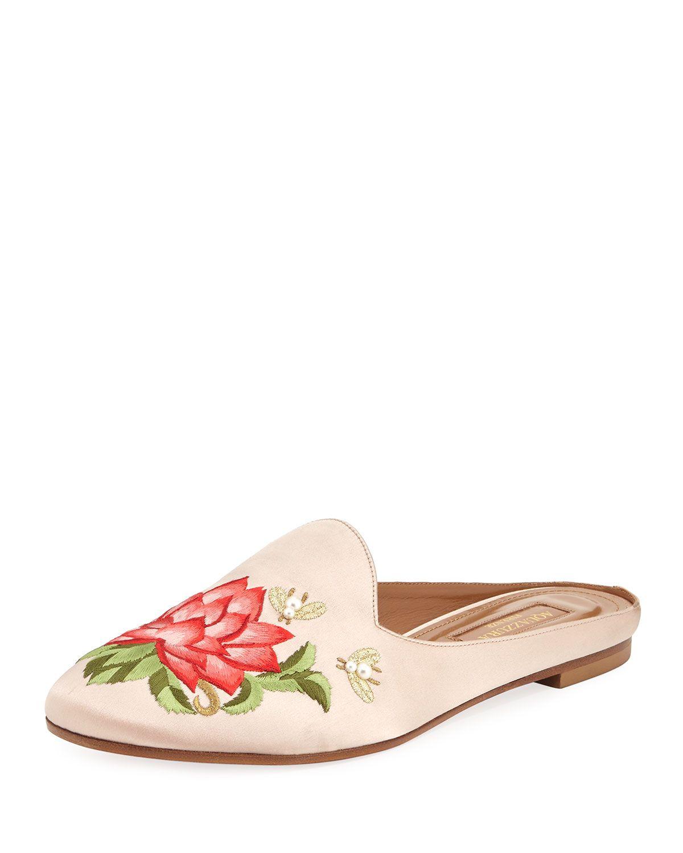 AQUAZZURA LOTUS SATIN EMBROIDERED FLAT SLIDE.  aquazzura  shoes ... 44b9ee960cf4
