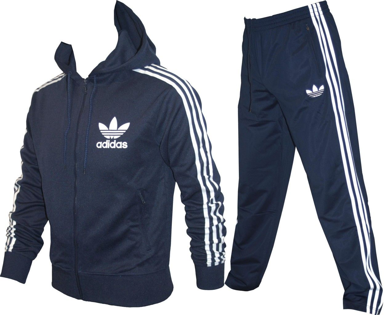 Mens adidas originals 3 stripes tracksuit navy s m l xl  98592150d8d32