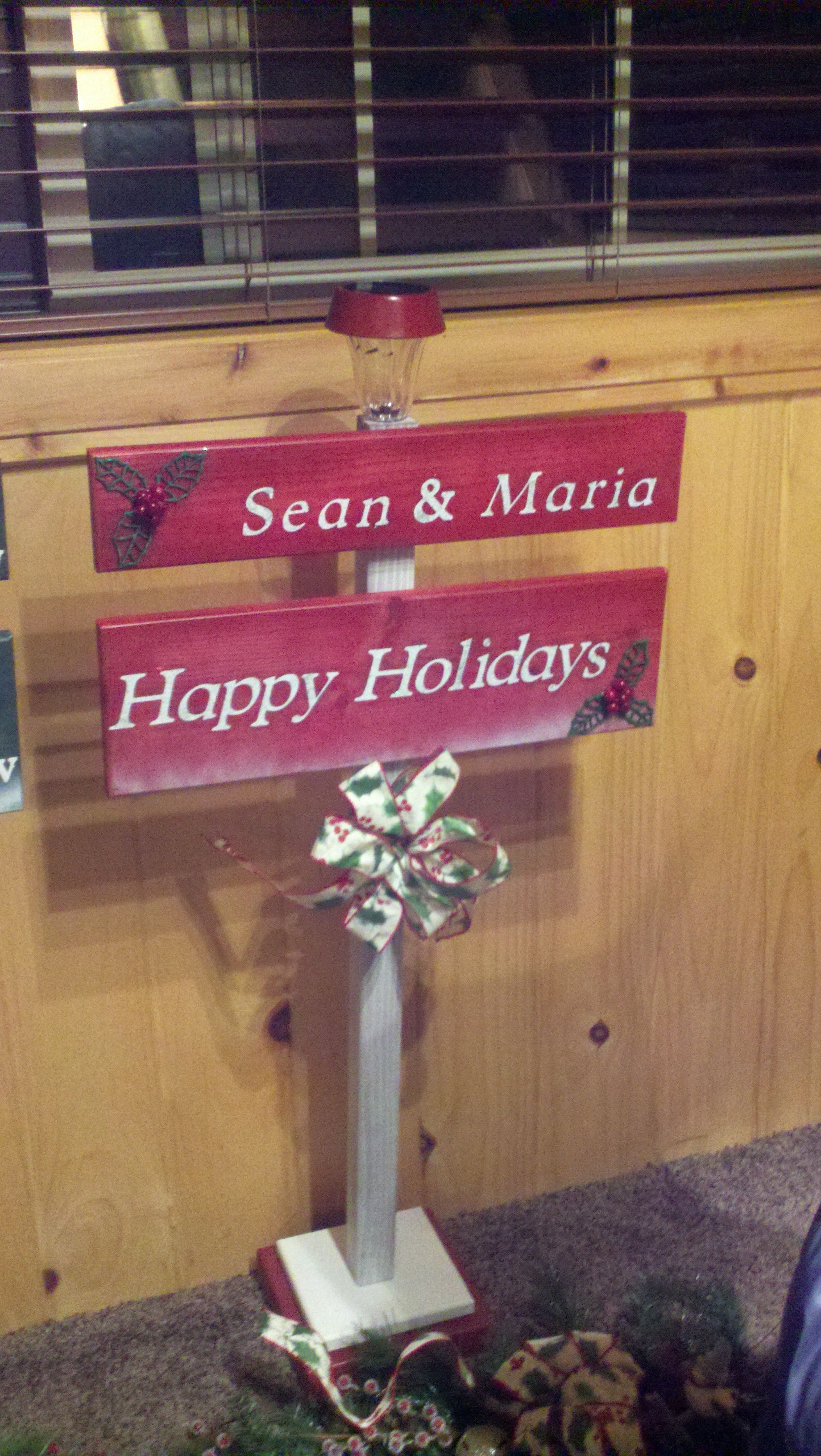 Christmas Porch Sign with solar light Solar lights diy
