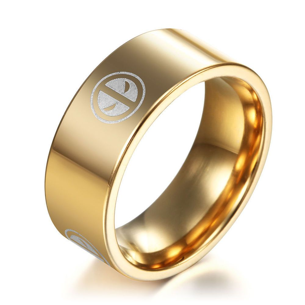 USA Gold Deadpool Titanium Stainless Steel Ring Men Women Band Size 6 13