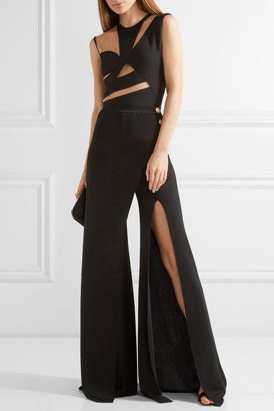 cced53d8a4e Black Jumpsuit. Clothes Women. Balmain - Cutout Mesh-paneled Stretch-knit  Bodysuit - Black Black Bodysuit