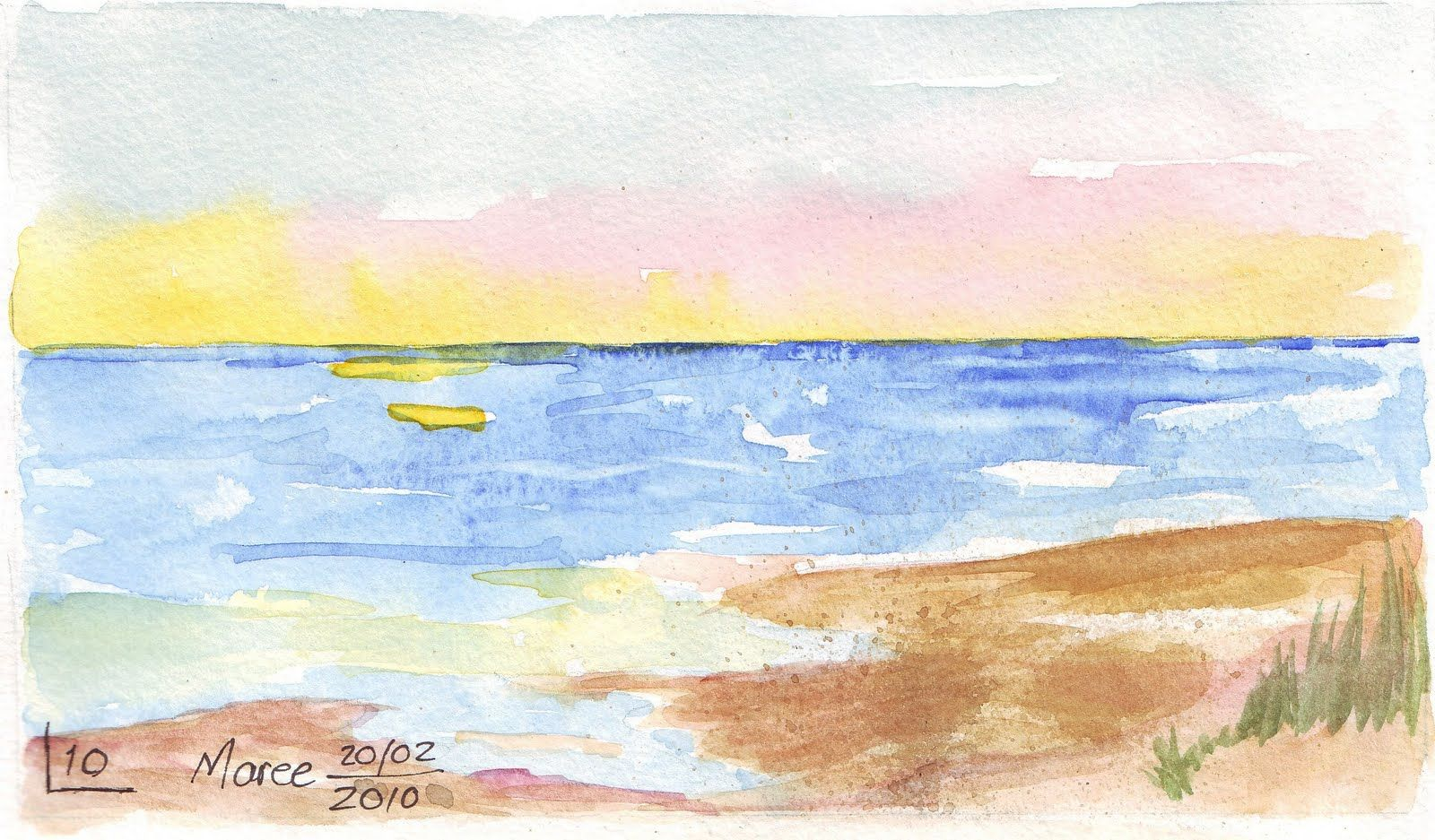 peace at the beach watercolour -