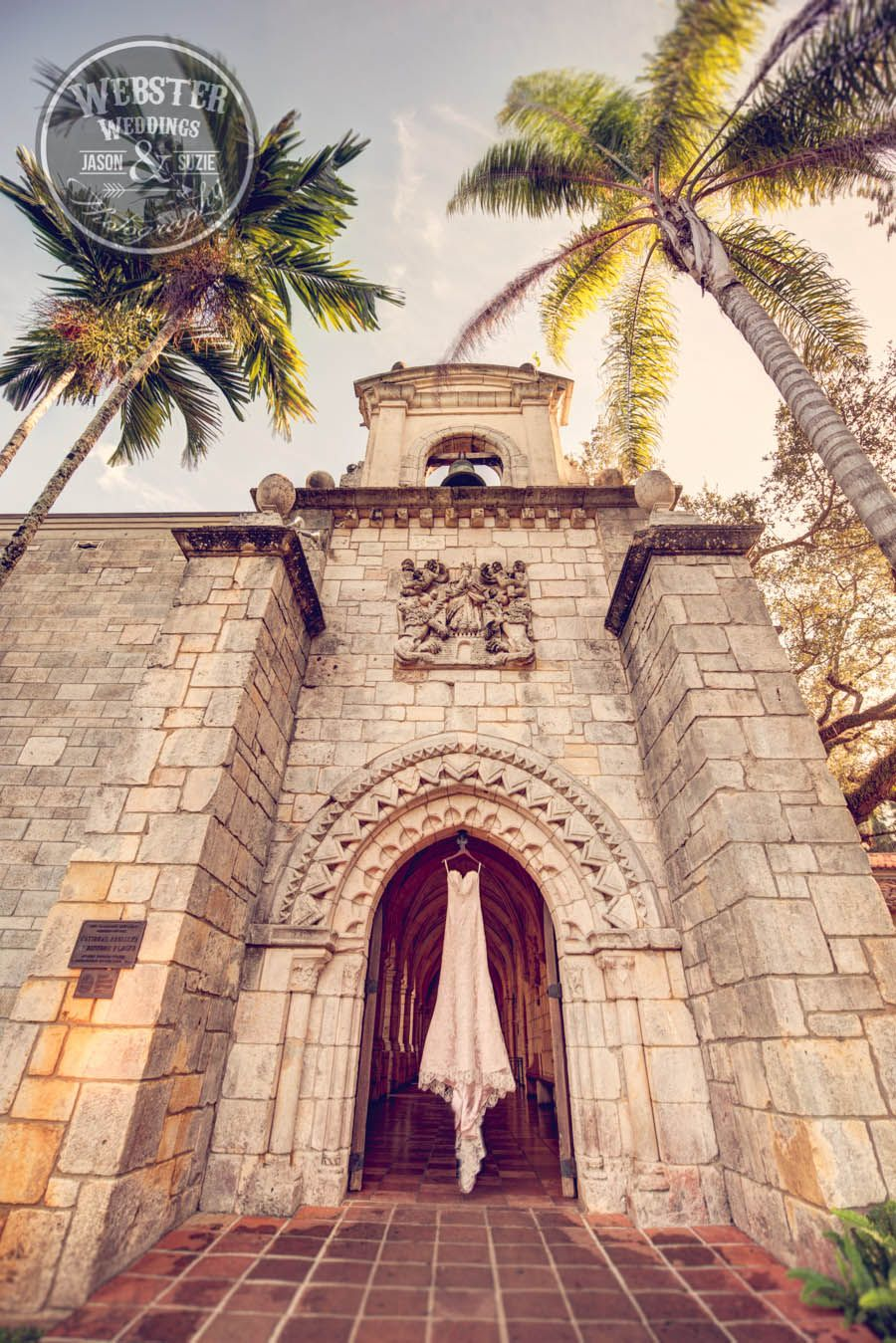 spanish monastery wedding, Miami wedding venue, pink wedding gown ...