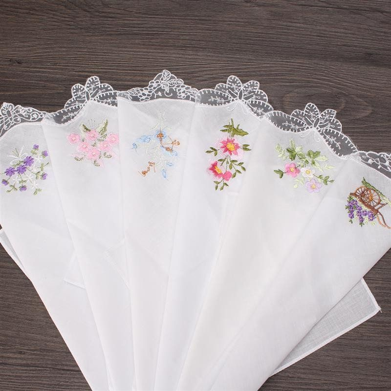 100% Cotton Women Hankies Butterfly Lace Flower Embroidered 6PCS