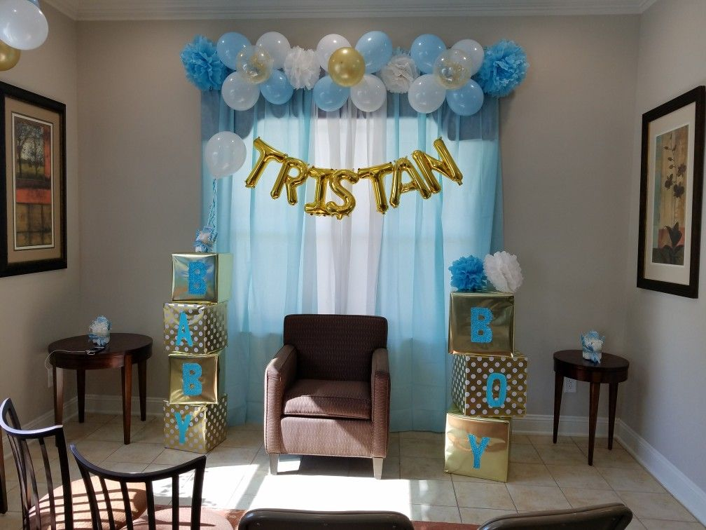 my daughter's baby shower backdrop | It's a boy shower ...