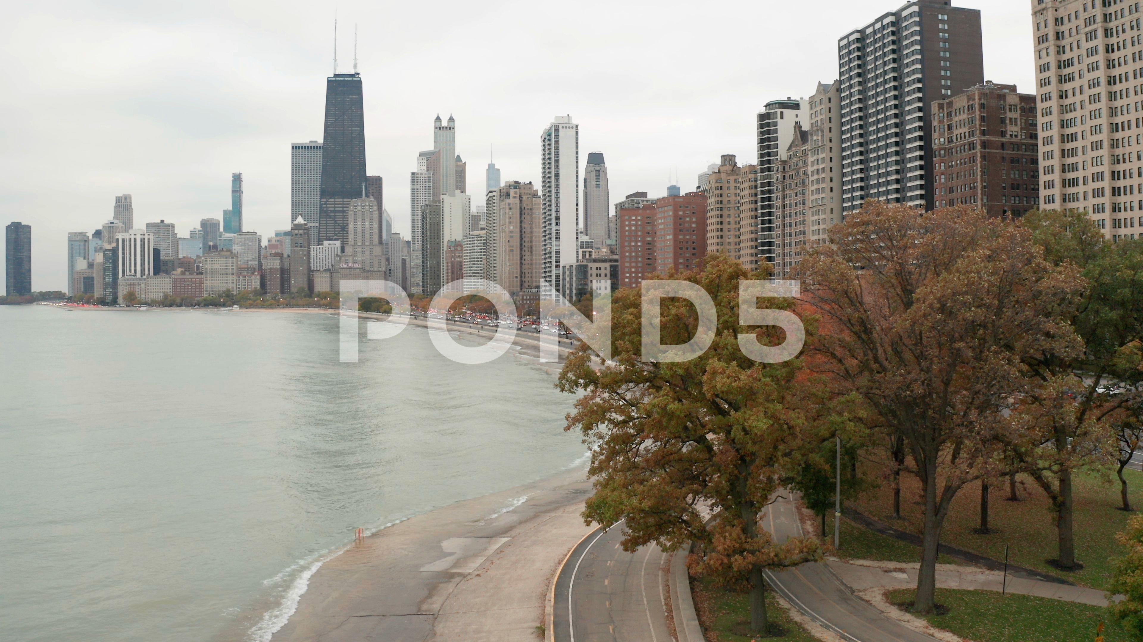 Chicago Downtown Aerial Fall Autumn Foliage Buildings Drone Flying Skyline Stock Footage Ad Fall Autumn Foliage Chicago In 2020 Downtown Chicago Aerial Downtown