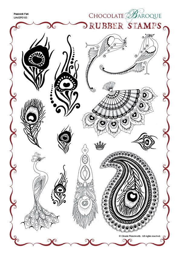 Chocolate Baroque: Peacock Fan Unmounted Rubber Stamp Sheet - A4